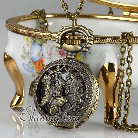 butterfly pocket watch pendant necklace