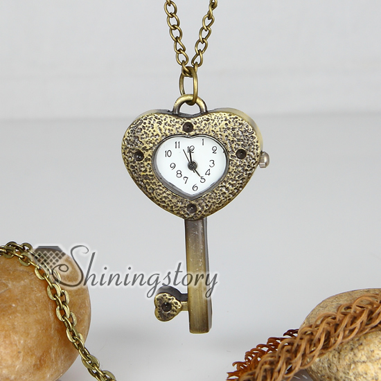 brass antique style key heart pocket watch pendant long chain necklaces for men and women unisex