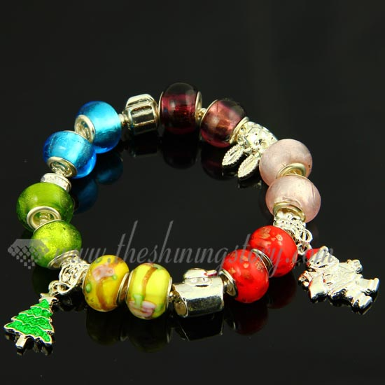 Christmas charms bracelets with european murano glass