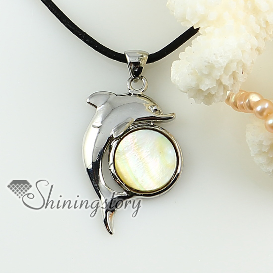 dolphin yellow oyster sea shell mother of pearl pendant necklace