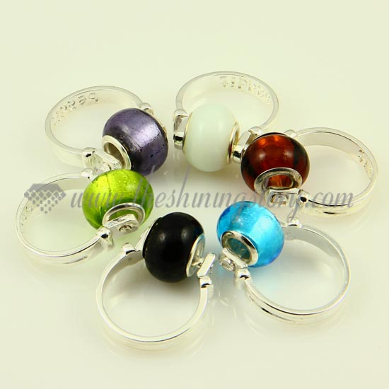 foil murano glass big finger rings jewelry