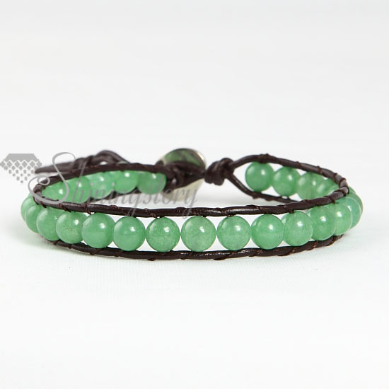 single wrap leather jade beaded bracelets jewellrry wholesale