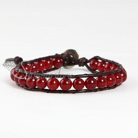 single wrap leather agate beaded bracelets jewellrry