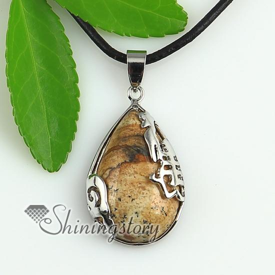 Natural Stone Jewelry : Teardrop jade rose quartz amethyst agate natural semi