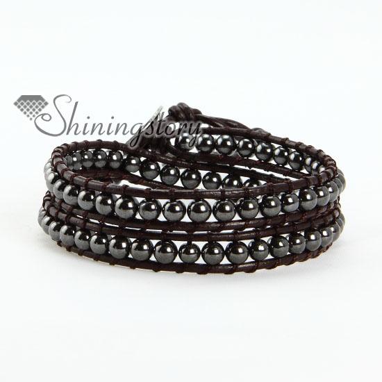 two layer hematite bead beaded leather wrap bracelets