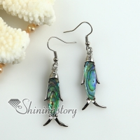 fish rainbow abalone oyster sea shell mother of pearl earrings