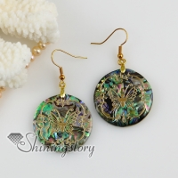 round butterfly filigree rainbow abalone shell dangle earrings