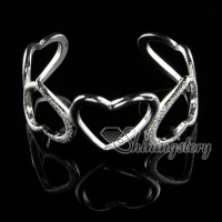 925 sterling silver filled brass heart bangles cuff bracelets