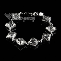 925 sterling silver filled brass openwork flower square bracelets with charms