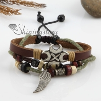 adjustable anchor alloy genuine leather bracelets unisex