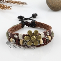 adjustable flower alloy genuine leather bracelets