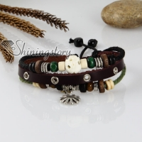 adjustable genuine leather bracelets unisex with charm