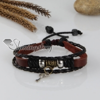 adjustable key genuine leather charm bracelets unisex