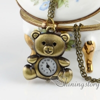 brass antique style bear pocket watch pendant long chain necklaces for men and women unisex