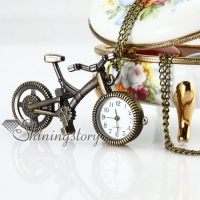 brass antique style bicycle pocket watch pendant long chain necklaces for men and women unisex