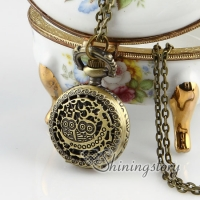 brass antique style openwork double night owl pocket watch pendant long chain necklaces