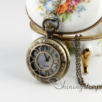 Brass antique style openwork flower pocket watch pendant long chain necklaces