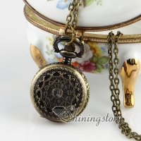 brass antique style openwork pocket watch pendant long chain necklaces