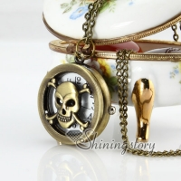 Brass antique style skull pocket watch pendant long chain necklaces for men and women