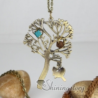 brass antique style tree pendant long chain necklaces for men and women unisex
