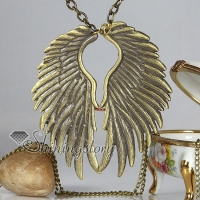 classic wings antique long chain pendants necklaces