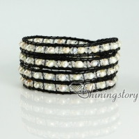 crystal freshwater pearl bracelets wristbands beaded leather wrap bracelets multi layer bracelets