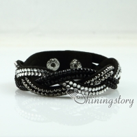 crystal rhinestone slake bracelets wristbands genuine leather wrap woven bracelets