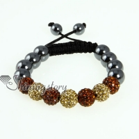double color glitter ball pave beads macrame bracelets