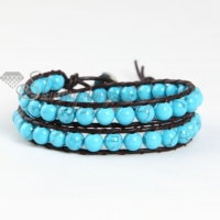 double wrap leather turquoise beaded bracelet jewelry