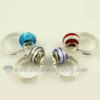 european foil lines murano glass beads finger rings jewelry