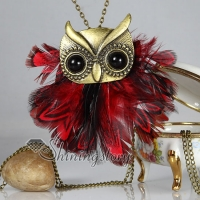 feather owl antique long chain pendants necklaces