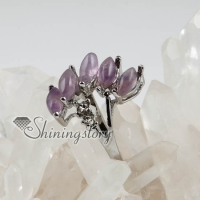 fire semi precious stone natural agate amethyst finger rings jewelry