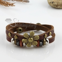 flower double layer with alloy genuine leather bracelets