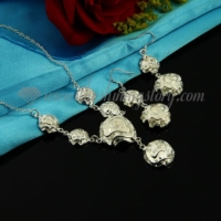 flower rose necklaces and earrings jewelry sets