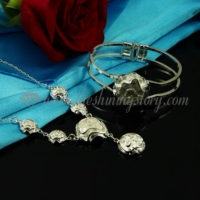 flower rose necklaces and snap bangles bracelets jewelry sets