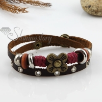 flower two layer with alloy genuine leather bracelets