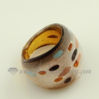 foil dot pattern lampwork murano glass finger rings jewelry