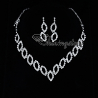 formal wedding bridesmaid prom rhinestone necklaces and earrings