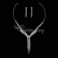 formal wedding bridesmaid rhinestone twist tassel jewelry sets