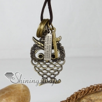 genuine leather brass openwork night owl pendant adjustable long necklaces