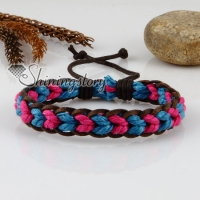 genuine leather waxed cotton cord woven wristbands adjustable drawstring rainbow bracelets unisex