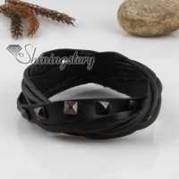 genuine leather woven double layer buckle wristbands bracelets for men and women