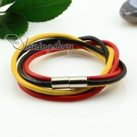 genuine leather wrap double layer wristbands rainbow bracelets unisex
