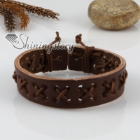genuine leather wristbands adjustable cotton drawstring cross bracelets unisex