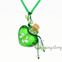heart lampwork glass perfume bottle essential oil necklace wholesale essential oil necklace diffuser aroma necklace wish bottle necklace