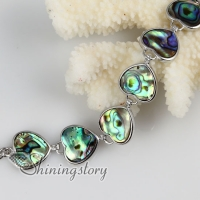 heart seawater rainbow abalone shell mother of pearl toggle charms bracelets