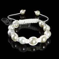 imitated pearls macrame bracelets white cord