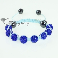 light blue cord macrame disco glitter ball pave beads bracelets