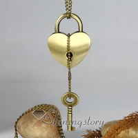 lock with key antique long chain pendants necklaces