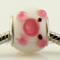 pig murano glass large hole beads for fit charms bracelets